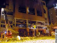 The multistory club El Nogal in northern Bogota was damaged by an explosion Friday night.